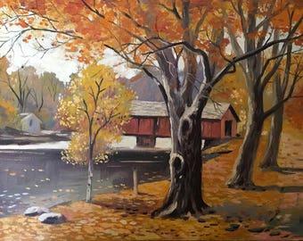 "Autumn Landscape Vintage Painting / Original Signed ""WU"" Oil Painting"