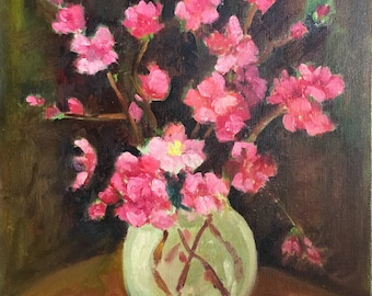 "Cherry Blossom Vintage Floral Oil Still Life Painting / Original Signed ""Ora"" Cherry Blossoms in Vase Vintage Oil Painting"
