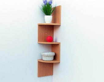 Modern Corner Shelf UP 3 Shelves Wall Bookshelf Storage Wooden