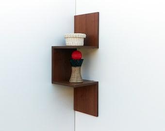 Modern Corner Shelf UP 2 3 Shelves Wall Bookshelf Storage Wooden