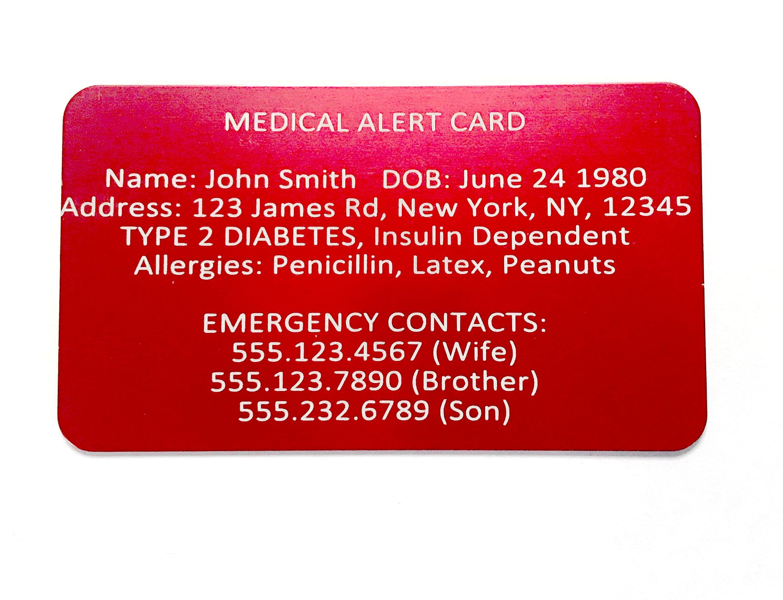 medical alert card emergency wallet card custom engraved