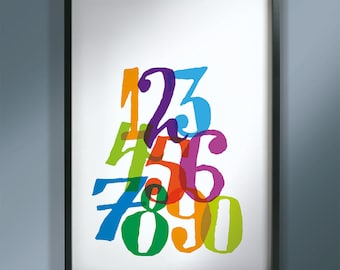 Numberstack print, kids bedroom, nursery or playroom, brighten any wall, numbers and colours