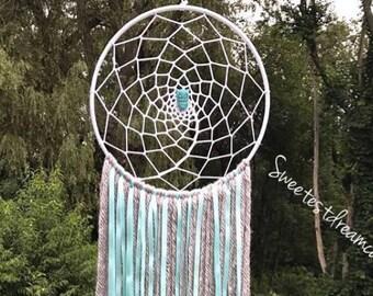 Turquoise owl dreamcatcher