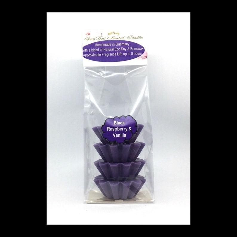 Black Raspberry /& Vanilla Scented Soy Wax Melts Free UK Shipping