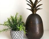 Large 9 Brass Pineapple Candlestick holder lidded box dark patina