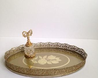 Vintage Gold Brass Filigree Vanity Tray Rose Design