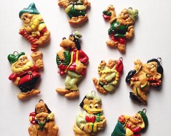 Set of 10 Handmade Disney Salt Dough Christmas Ornaments Vintage 70s