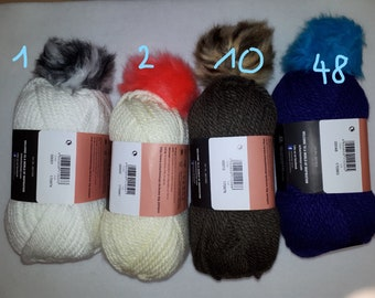Beanie yarn + pompon; 1 ball = 1 beanie/hat; Schachenmayr; crochet + knitting