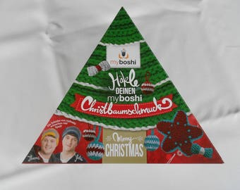 Set of Christmas ornaments Myboshi set 3 skeins + crochet hook Red green silver