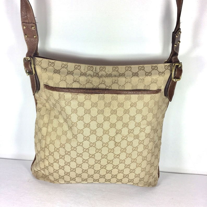 1e7da676cd10 Authentic GUCCI Crossbody big Bag GC beige Canvas and Leather | Etsy