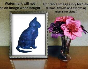 Blue Galaxy Cat Poster Image, North America Nebula, Cat Print Image, Clip Art, Wall Decor, Personal Use, CU Option, Instant Digital Download