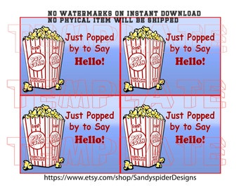 Popcorn Pop By Gift Tag, Business Gift, Printable Popcorn Tag, INSTANT DOWNLOAD, Free Shipping, Popping By Tag, Referrals, Gift Tags, Popby