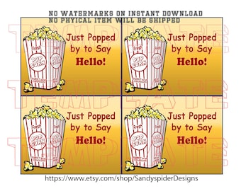 Antique Color Popcorn Pop By Gift Tag, Business Gift, Printable Popcorn Tag, INSTANT DOWNLOAD, No Shipping, Popping By Tag, Gift Tag, Popby