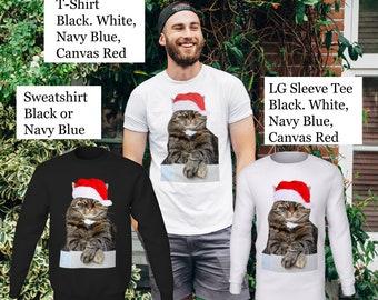 Christmas Humbug Cat Unisex T-Shirt or Sweatshirt, Cat T-Shirt, Christmas T-Shirt, Humbug T-Shirt, Cat Sweatshirt, Christmas Sweatshirt, Tee
