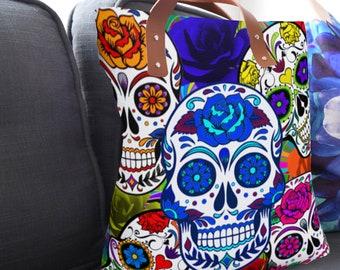 Sugar Skull, Day of the Dead, Basic Tote Bag, Urban Tote Bag, Handbag, Fashion Bag, Lined Tote Bag, Unlined Tote Bag, Golden Sugar Skulls