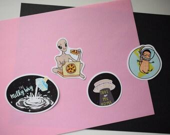 Space Funk Sticker Pack (4 hand-cut stickers) – space stickers, space, milkyway, astronaut, alien, pizza, kawaii stickers, scrapbook