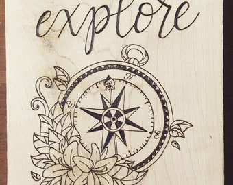Wood burned compass with florals, Pyrography compass, Floral compass