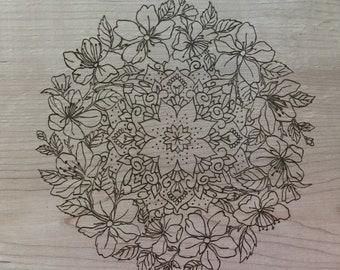 Live edge wood burned floral mandala, Pyrography mandala