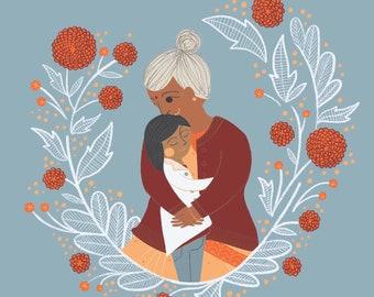 Priya and Ba (Grandma) Art Print