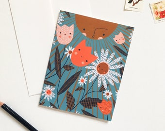 Happy Sun and Flowers Card
