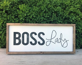 Boss Lady Wood Sign Office Girl Gift For Female Women Owned Business