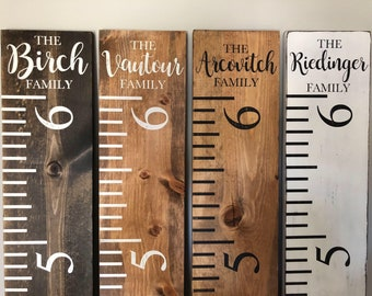 Family Growth Chart Ruler, Rustic, Personalized, (Kids Growth Chart, Wood Ruler Chart, Growth Chart,  White Ruler, Stained Ruler