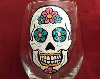 Sugar Skulls Vine Hand Painted Glasses