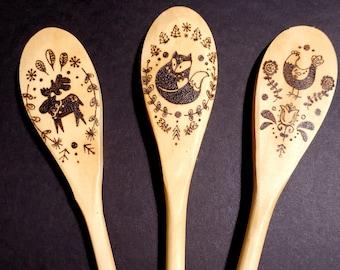 Handmade Woodburned Kitchen Spoons