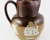 Late 19th Century Doulton Lambeth English Stoneware Harvest Jug Pitcher