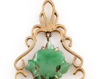 Carved jade pendant etsy wonderful 14k yellow gold carved jade pendant or lavalier aloadofball