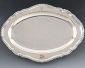 Antique Early 1800s Old Sheffield Fused Silver Plate on Copper Oval Tray Stag Crest 18 19th Century