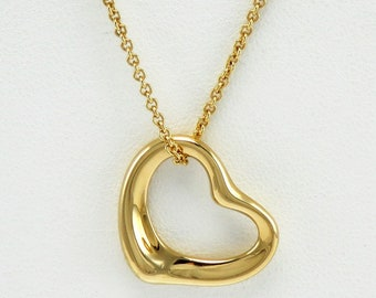 2b78c0371 Designer Elsa Peretti Tiffany & Co Open Heart 18K Gold Pendant 22.5mm  Necklace
