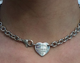 9b9451309 Return to Tiffany & Co New York NYC 925 Sterling Silver Heart Tag Chain Choker  Necklace 15