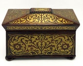 Large Antique English Regency Rosewood Inlaid Brass Tea Caddy Box 9 quot x 6.5 quot x 13 quot 19th Century
