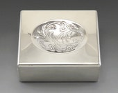 Vintage Towle Sterling Silver Wood Lined Engraved Concave Lid Box 200g