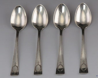 """3-7//8/"""" Wallace Bessie Sterling Silver Demitasse Spoon with Gold Wash"""