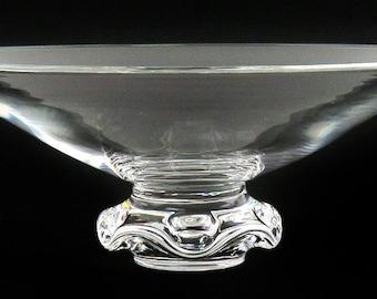 9219d54887f Vintage Signed Steuben Clear Glass Fruit Stand Ruffled Pedestal Crystal Bowl