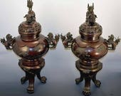 Fabulous Pair of Antique Asian Bronze Covered Censers Vases Urns-Great Patina