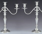 Lovely Pair Fisher Sterling Silver 3 Light Convertible Candelabra