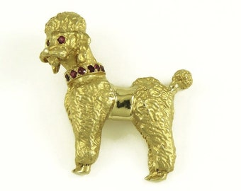 Fine Pins & Brooches Vintage 14k Yellow Gold Diamond Blue Sapphire Unique Poodle Design Brooch Pin