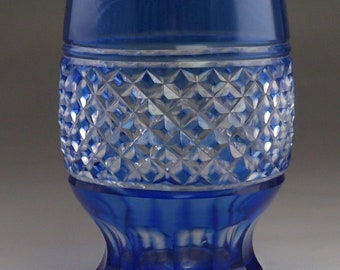 2 Bohemian Blue Cut To Clear Double Shot Juice Glass Pottery & Glass