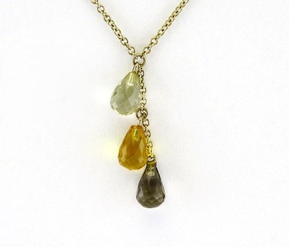 14k yellow gold Genuine natural smoky quartz gemstone necklace on 14k yellow gold chain
