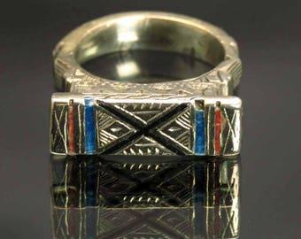 Antique Silver Sahrawi Tuareg Tribal Bedouin Yemeni Berber Ring sz 7.75
