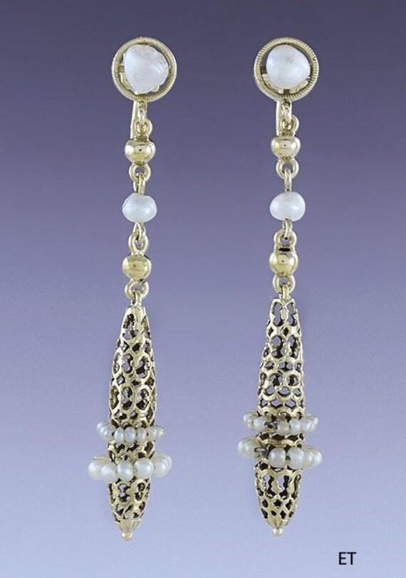 c1920s-1930s Lovely Pair 14k Gold & Pearl Honeycom