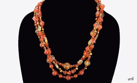 freshwater cultured pearls amber and coral with silver clasp carabiner Gemstone necklace made of rock crystal 925, approx. 13 mm