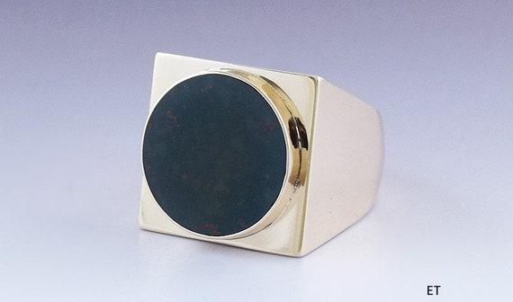 Stylish 14k Gold & Bloodstone Blank Seal Signet Ri