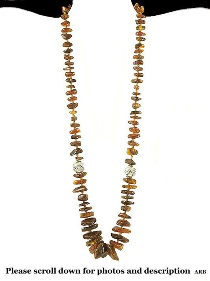 Wonderful Individually Knotted Beaded Necklace of Silver and Amber