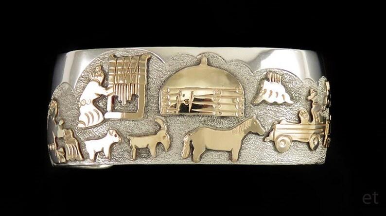 1e838dde8ba Navajo American Indian 14K Gold & Sterling Silver Storyteller | Etsy