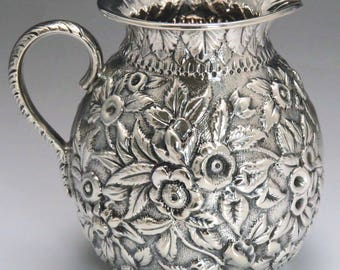 Mid 1800's Antique Kirk American Repousse 917 Silver Creamer/ Milk Pitcher