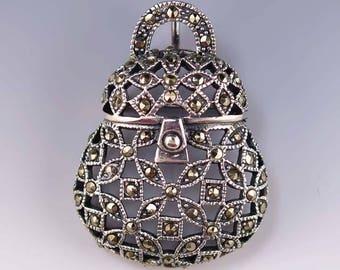 Sterling Silver Marcasite Purse Pin / Pendant